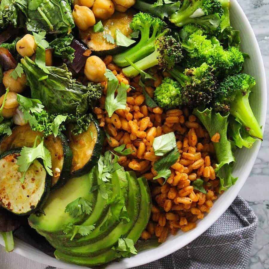 rice bowl loaded with green veggies