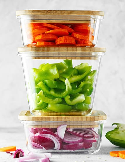 Glass containers with vegetables